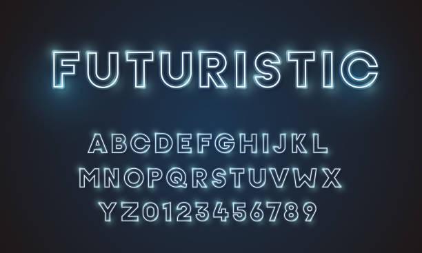 futurystyczna czcionka wektorowa czcionka czcionka unikalny projekt. dla technologii, technologii, inżynierii, cyfrowych, gier, sci-fi i przedmiotów naukowych. wszystkie zawarte litery i cyfry - neon stock illustrations