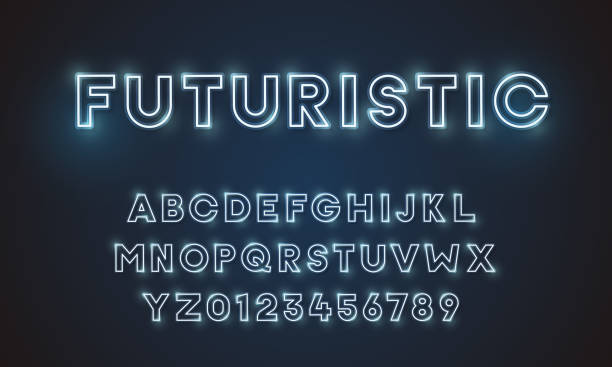 futuristic vector font typeface unique design. for technology, digital, engineering, digital , gaming, sci-fi and science subjects. all letters and numbers included - futurystyczny stock illustrations
