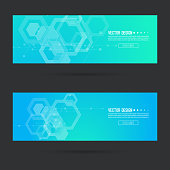Abstract footer with transparent cubes, hexagons carcass. Techno design of future. technology, science, research. cyberspace cells. Digital Data Visualization. Futuristic vector header. Blue, green.