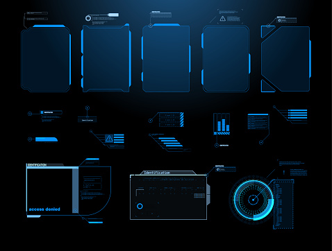 Futuristic Vector HUD Interface Screen Design. Digital callouts titles.