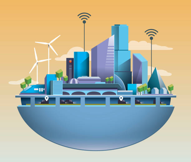 ilustrações de stock, clip art, desenhos animados e ícones de futuristic vector smart city with clean and warm enviroment - future hug