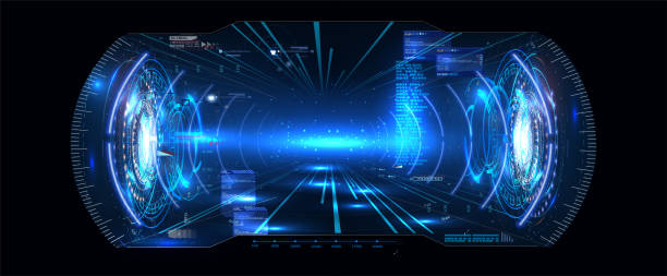 futuristic vector vr head-up display hud ui gui interface screen design. virtuelle realität. digitale benutzeroberfläche. vr headset. vr-brille. vector illustration gui. mobile app. dashboard sci-fi helmet. - hologramm stock-grafiken, -clipart, -cartoons und -symbole