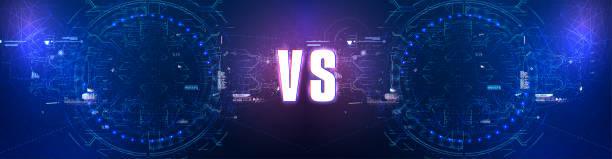 futuristische versionen bildschirm. vs fight hintergrund für kampf, wettkampf und spiel. rot vs blau. vektorabbildung - dashboard, hintergrund, hell stock-grafiken, -clipart, -cartoons und -symbole