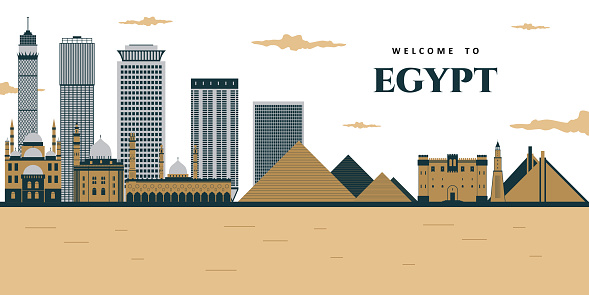 Futuristic view of the pyramids and the city. Landscape panoramic of egyptian pharaohs pyramids with mosque. Ancient historical, famous touristic attractions in african desert. Egypt illustration
