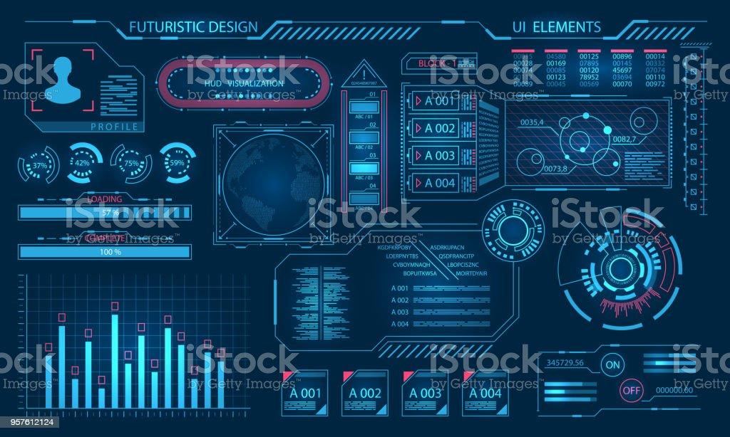 Interface gráfica Virtual futurista, elementos HUD - ilustração de arte em vetor