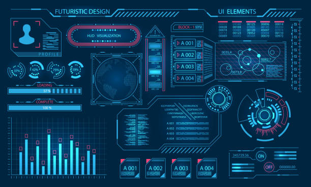 futuristic virtual graphic user interface, hud elements - futurystyczny stock illustrations