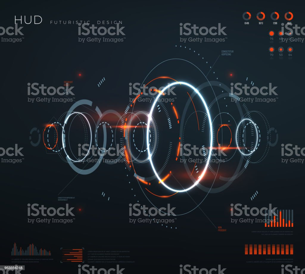 Futuristic virtual hud interface. Technology digital screen with control panels, chart, diagrams. Conceptual future vector infographic royalty-free futuristic virtual hud interface technology digital screen with control panels chart diagrams conceptual future vector infographic stock illustration - download image now