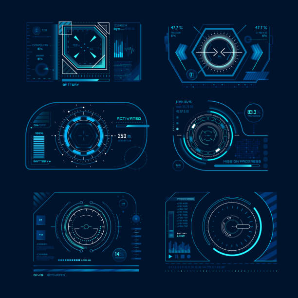 ilustrações de stock, clip art, desenhos animados e ícones de futuristic virtual screen. monitoring hud panel frame with tracking aim. computer systems display tech process graph vector concept set - visor digital