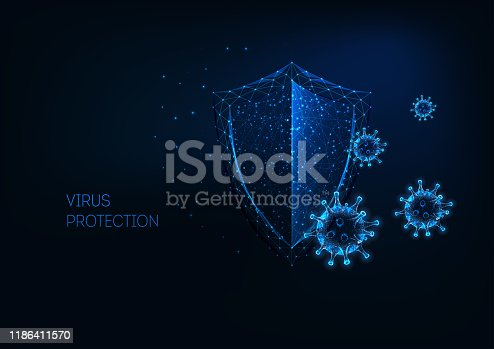 Futuristic virus protection concept with glowing low polygonal shield and virus cells on dark blue background. Antibiotics, vaccination. Modern wireframe design vector illustration.