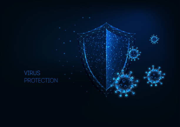 Futuristic virus protection concept with glowing low polygonal shield and virus cells. Futuristic virus protection concept with glowing low polygonal shield and virus cells on dark blue background. Antibiotics, vaccination. Modern wireframe design vector illustration. defend stock illustrations