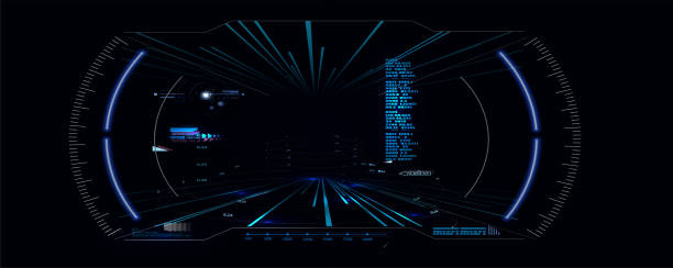 Futuristic VR Head-up Display Design. Sci-Fi Helmet HUD. Future Technology Display Design Futuristic VR Head-up Display Design. Sci-Fi Helmet HUD. Future Technology cyborg stock illustrations