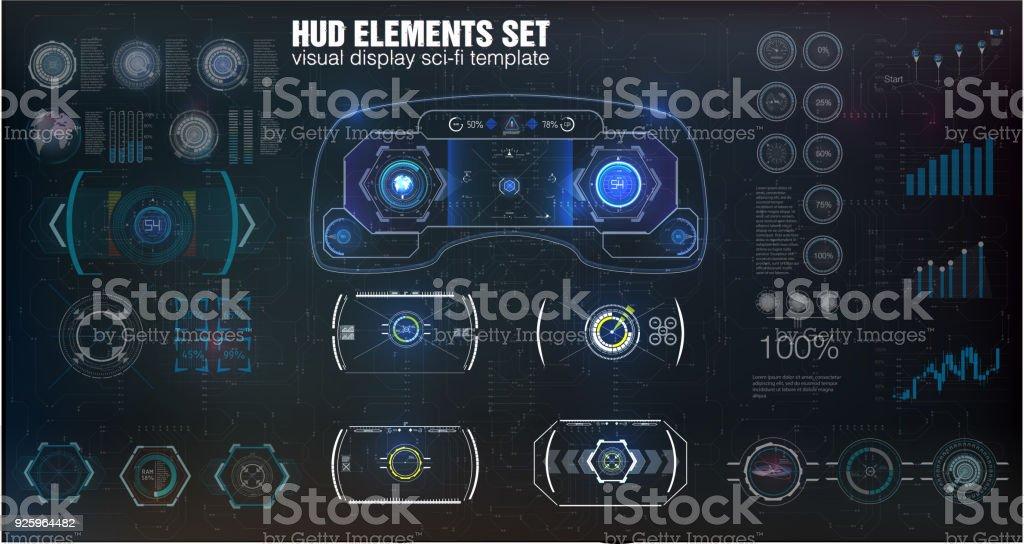 Futuristic VR Head-up Display Design. Sci-Fi Helmet HUD. vector art illustration