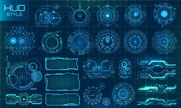 ilustrações de stock, clip art, desenhos animados e ícones de futuristic vr head-up display design. technology set elements - visor digital