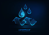 Futuristic waterproofing concept. Glowing low polygonal water drops and arrows on dark blue background. Water repellent material. Modern wireframe design vector illustration.