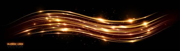 Futuristische Welle Flash. Magische Funken. Mystische Glanzstreifen. Leerer Platz. Abstrakter Hintergrund. Neon-Windlinien. Glüheffekt. Schönes Licht. Glint kosmische Strahlung. Energie. Vektor. – Vektorgrafik