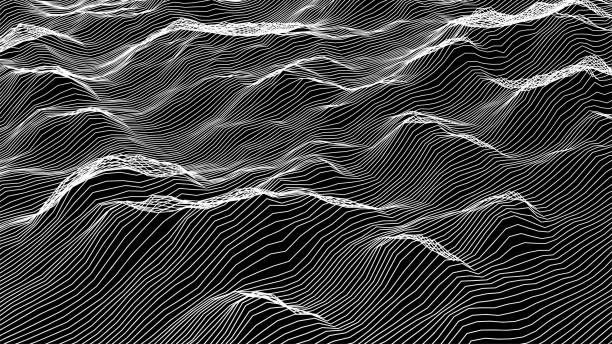 futuristic wireframe landscape background. vector digital illustration from wave white lines. geometric abstraction. - living organism stock illustrations