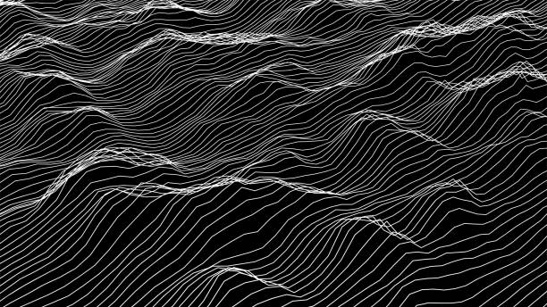 futuristic wireframe landscape background. vector digital illustration from wave white lines. geometric abstraction. - hałas stock illustrations