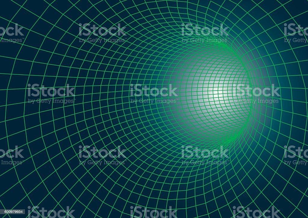 futuristic wireframe tunnel vector art illustration