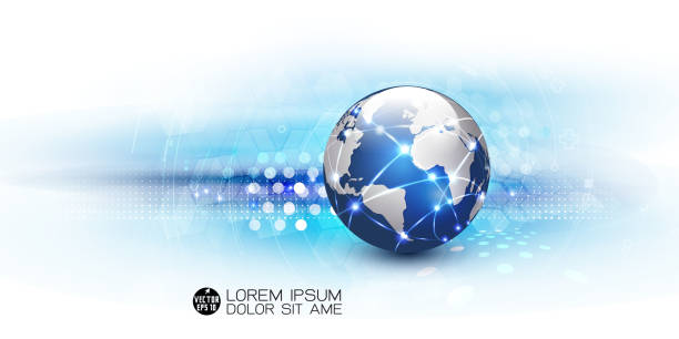 Futuristic world network communication and technology background, vector illustration vector art illustration