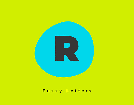 Fuzzy Bold Letter R on a Bight Neon Green and Blue Colored Background