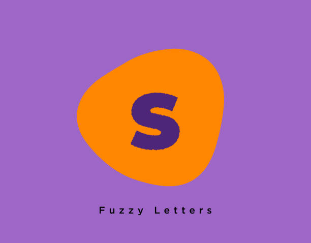 Fuzzy Bold Letter S on a Funky Orange and Purple Colored Background vector art illustration