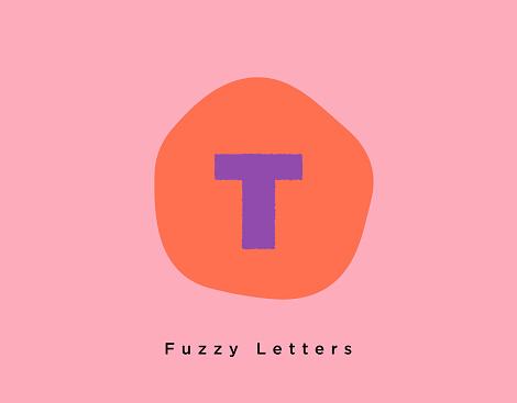 Fuzzy Bold Letter T on a Fun Creative Pink and Bright Orange Shaped Background