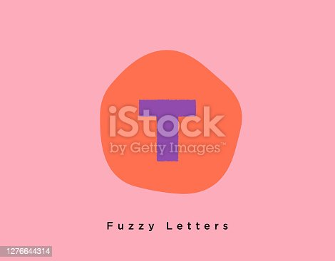 istock Fuzzy Bold Letter T on a Fun Creative Pink and Bright Orange Shaped Background 1276644314