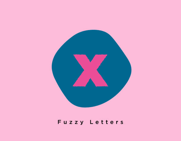 Fuzzy Bold Letter X on a Unique Round Shape with Light Pink Background vector art illustration