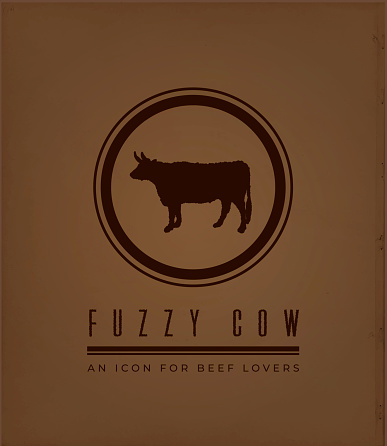 Fuzzy Cow Icon on Vintage Dark Brown Background as Flyer or Business Card Template