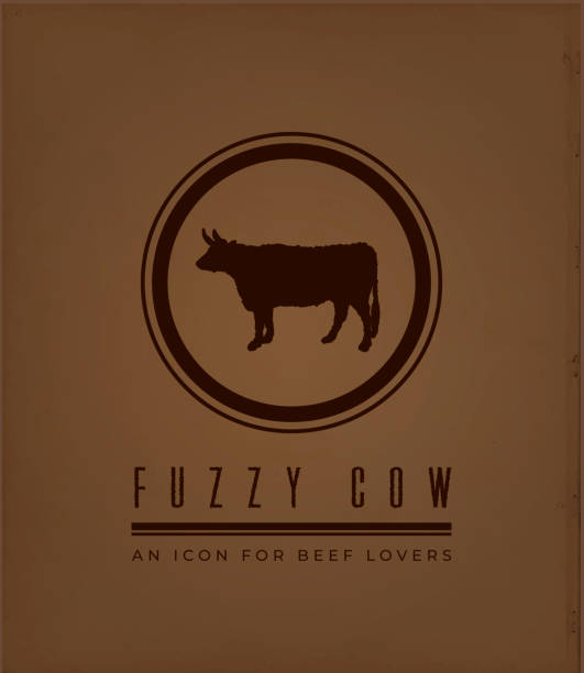 Fuzzy Cow Icon on Vintage Dark Brown Background as Flyer or Business Card Template vector art illustration