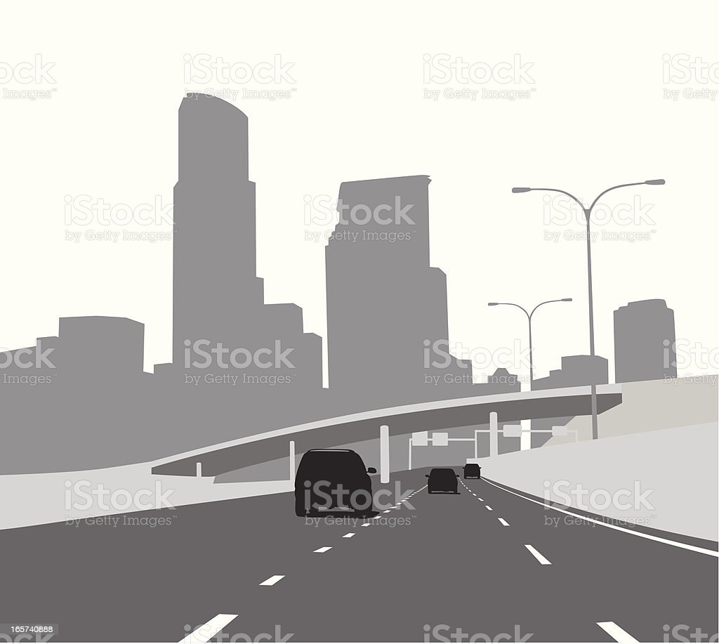 Fwy Skyline Vector Silhouette royalty-free stock vector art