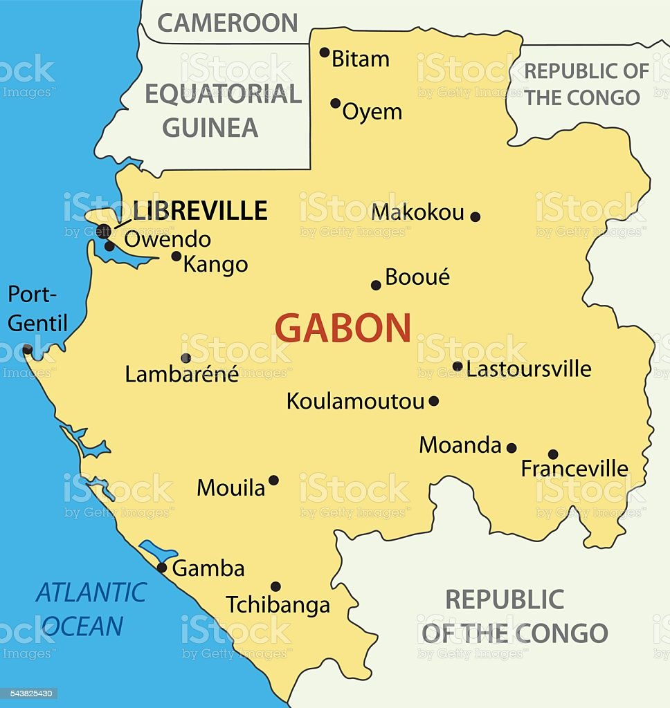Gabon Gabonese Republic Vector Map Stock Vector Art More Images Of