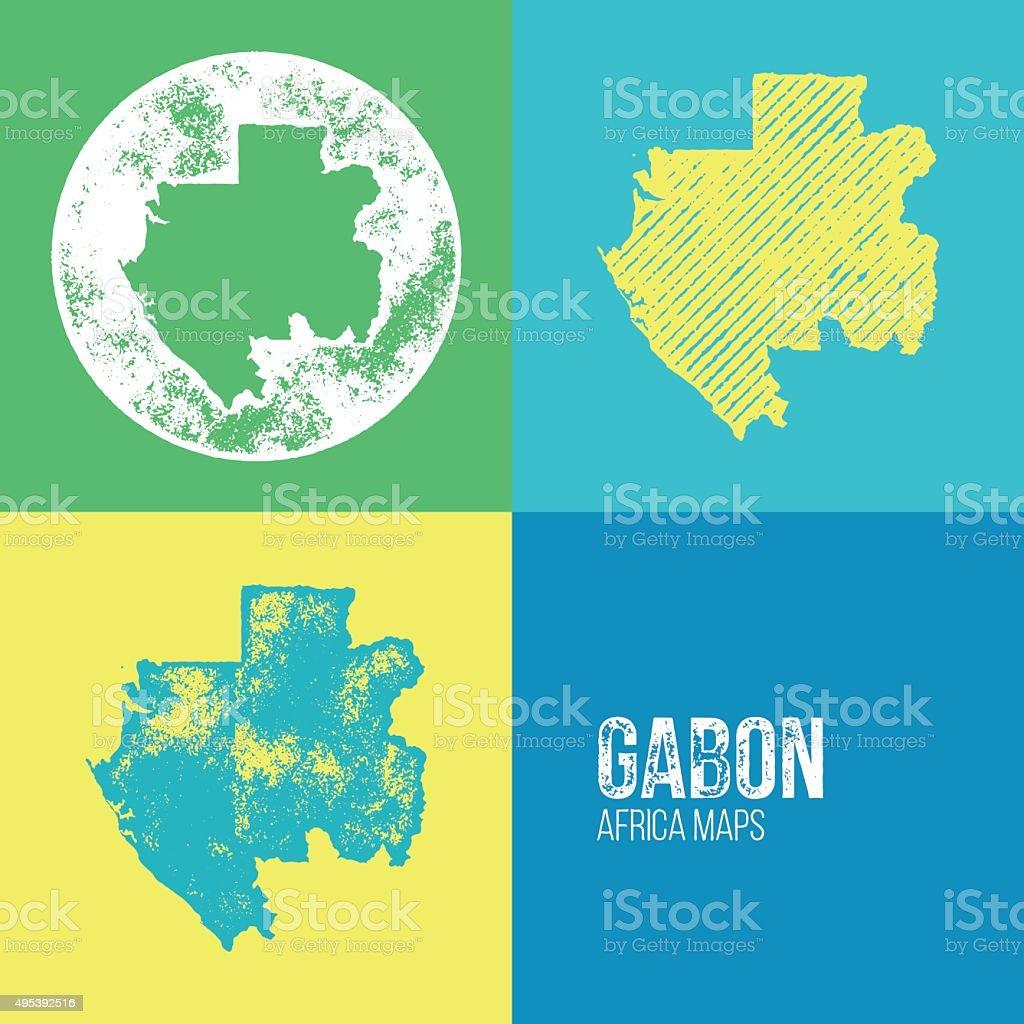 Gabon Grunge Retro Maps Africa Stock Vector Art More Images Of