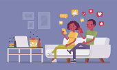 Gadget addiction, black couple dependent on smartphones. People glued to a screen, focusing on mobile device, social media obsession, virtual world instead of everyday routine. Vector illustration