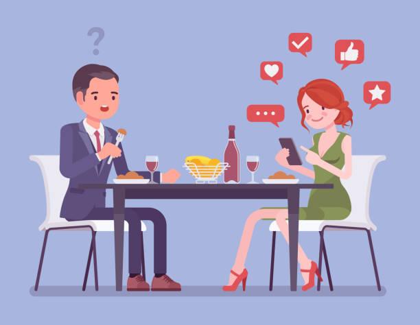 illustrazioni stock, clip art, cartoni animati e icone di tendenza di gadget addiction, woman at dinner dependent on smartphone - dinner couple restaurant