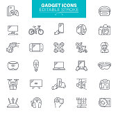 Electronic and devices, Technology, Digital Store, Data, Outline Icon Set