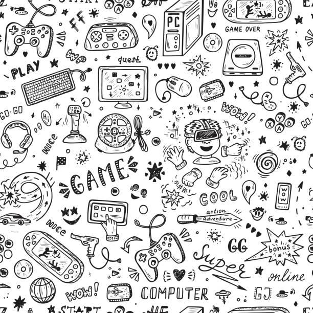 ガジェットのアイコン ベクトル シームレス パターン。落書きのコンピューター ゲームの描画のアイテムを渡します。ビデオ ゲームの背景。 - ゲーム ヘッドフォン点のイラスト素材/クリップアート素材/マンガ素材/アイコン素材