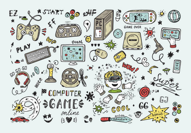 Gadget icons Vector Set. Hand Drawn Doodle Computer Game items. Video Games. Gadget icons Vector Set. Hand Drawn Doodle Computer Game items. Video Games. gambling stock illustrations