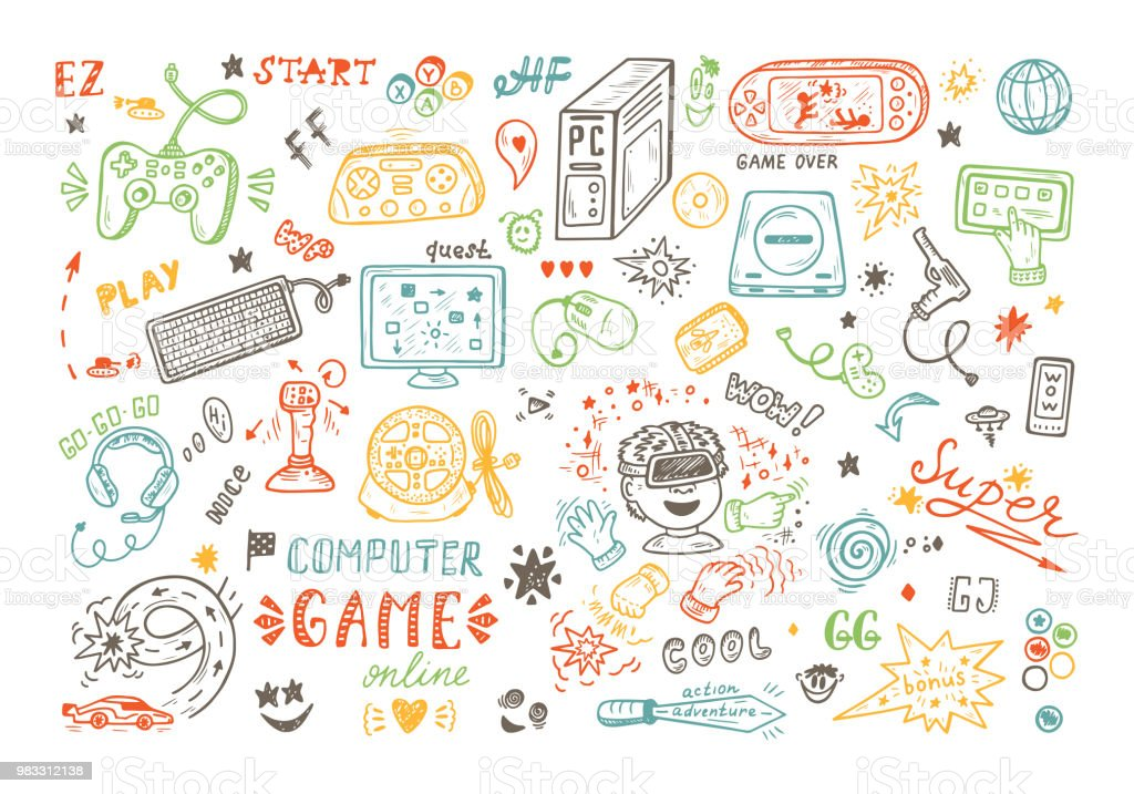 Gadget Icons Vector Set Hand Drawn Doodle Computer Game