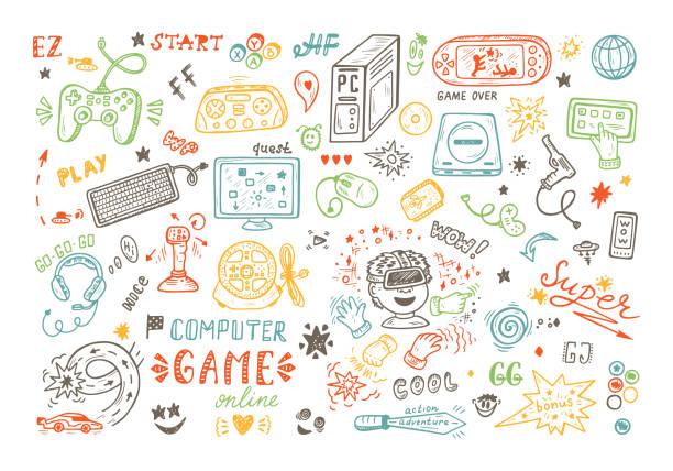 ガジェットのアイコン ベクトルを設定します。落書きのコンピューター ゲームの描画のアイテムを渡します。ビデオゲーム。 - ゲーム ヘッドフォン点のイラスト素材/クリップアート素材/マンガ素材/アイコン素材