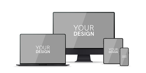 Gadgets, devices set. Phone, laptop, pc monitor, computer, tablet. Flat style border. Realistic concept with empty screen. Simple modern colorful design. Black and white colors. Vector illustration. clipart