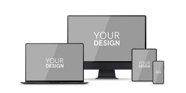 Gadgets, devices set. Phone, laptop, pc monitor, computer, tablet. Flat style border. Realistic concept with empty screen. Simple modern colorful design. Black and white colors. Vector illustration. Gadgets, devices set. Phone, laptop, pc monitor, computer, tablet. Flat style border. Realistic concept with empty screen. Simple modern colorful design. Black and white colors. Vector illustration. ipad stock illustrations
