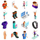 Smart Digital Devices for Fitness Isometric Vector Set Isolated on White Background. People Doing Sports, Using Electronics Gadgets for Physical Activity and Healthy Lifestyle Control Illustration