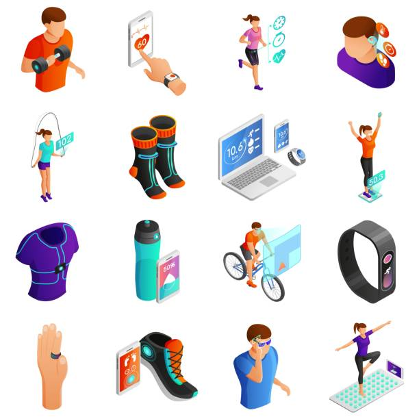 gadgets for active people isometric vector set - zbiornik wytworzony przedmiot stock illustrations