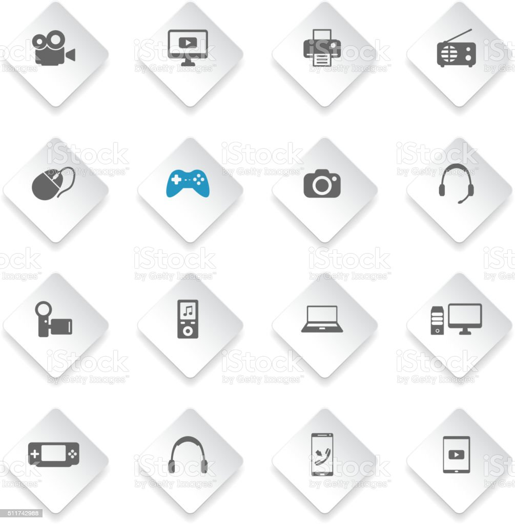 Gadgets simply icons vector art illustration
