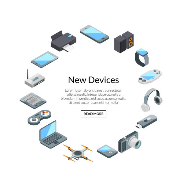Gadset set label with text. Vector isometric gadgets icons Vector isometric gadgets icons in circle shape with place for text illustration electrical equipment stock illustrations