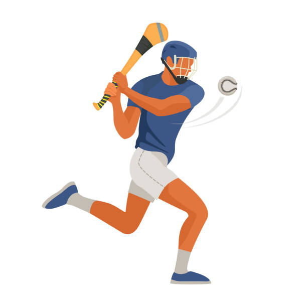 Gaelic game player play Irish Hurley sport. Vector vector art illustration