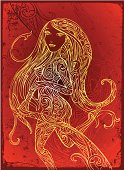 indigenous style drawing of a Goddess in motion looking back and smiling