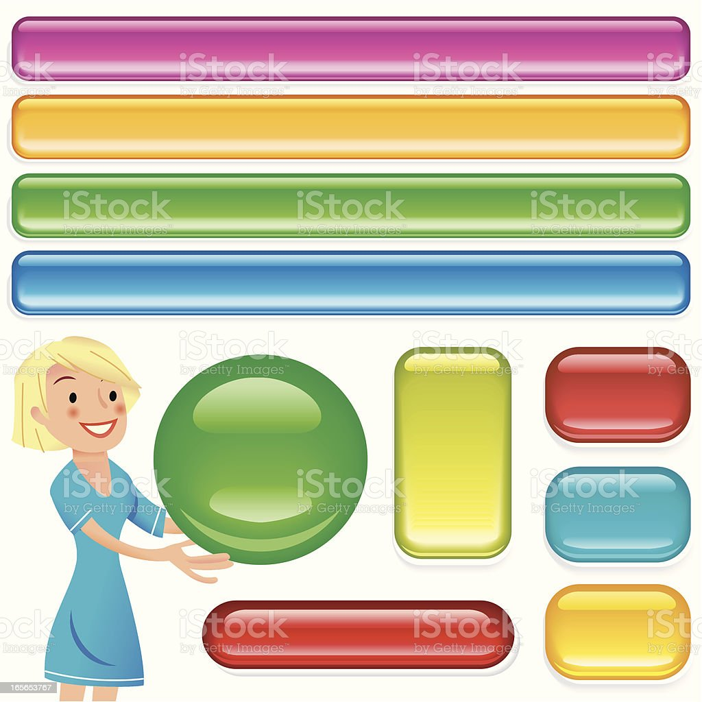 Gail's glass buttons vector art illustration