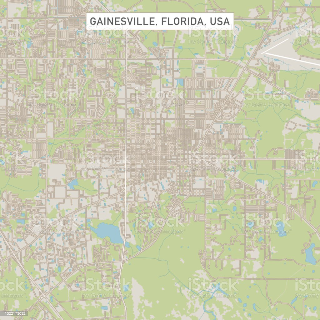Gainesville Florida Us City Street Map Stock Vector Art More